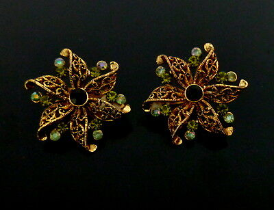 1960s Grüne Strass dunkle Gold Farbe Metall Ohrclips Ohrringe Boucles d'oreilles