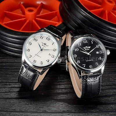 Classic Automatic Mechanical DATE Stailess Steel Leather Men Analog Wrist Watch