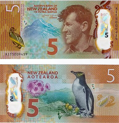 New Zealand 2015 UNC $5 Note - New design - Winner IBNS 'Bank Note of the Year'