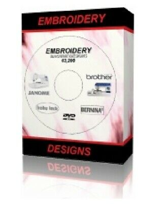 63,200 + 2.9Gb Embroidery Designs Brother Janome Babylock Singer Bernina Cd Dvd