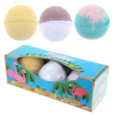 Tropical Bath Bomb Set of 3 - Tropical Lush Scents in Flamingo Gift Box
