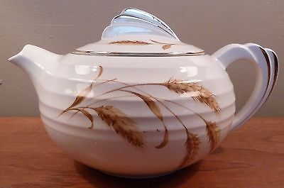 Edwin Knowles Yorktowne GOLDEN WHEAT squat ribbed cream 1930s art deco teapot