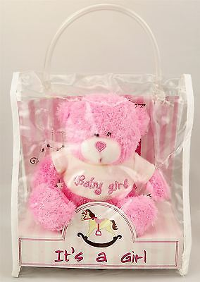 """Plush Pink Teddy Bear 5"""" tall-It's A Girl Soft Toy with Bag for Children NewBorn"""