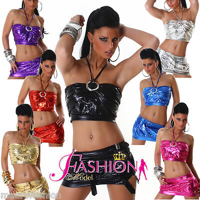 Sexy Set GONNA + TOP effetto PELLE bagnato party disco night mis unica colori