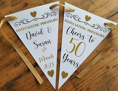 Personalised 50th Golden Wedding Anniversary Party Bunting Banner Decoration