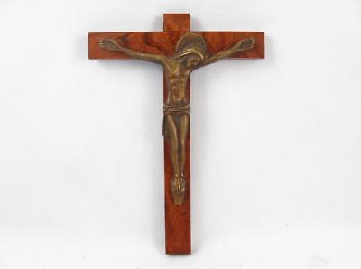 Vintage French Art Deco Bronze & Wood Crucifix Signed Bancel