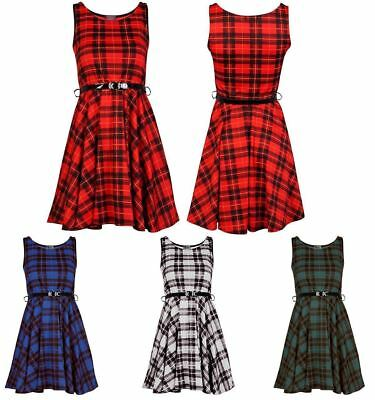 Womens Checked Tartan Printed Ladies belted Short Flared skater Skirt Red