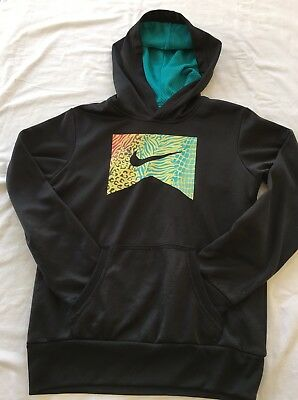 Nike Preowned Sweater Kids Boys Black Hooded Solid Long Sleeve Black  Sz Small
