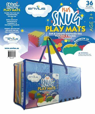 "EnviUs Snug Plus Play Mat Rainbow 36: Formamide Free Ultra Thick 36 Pieces 12"" x"