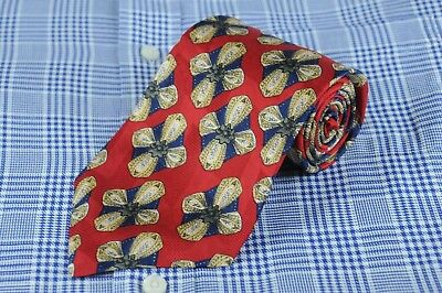 Ferrell Reed Men's Tie Red Navy Gray & Gold Geometric Silk Necktie 57 x 4 in.