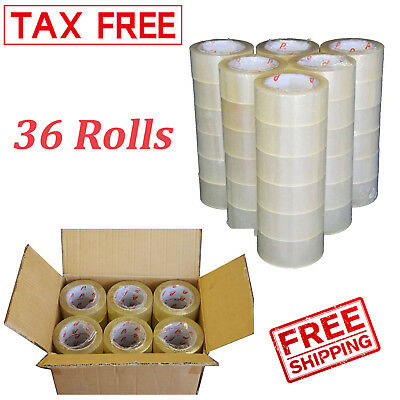 """36 Rolls Clear Carton Sealing Tape Packing Package Box 2 Mil 2""""x110 Yards 330 ft"""