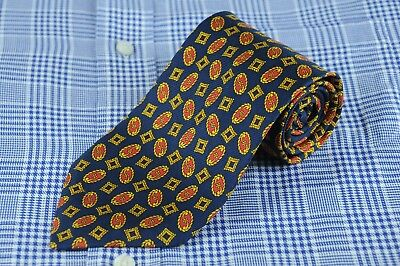 Richel Royal Men's Tie Navy Gold & Red Geometric Silk Necktie 57 x 3.5 in.