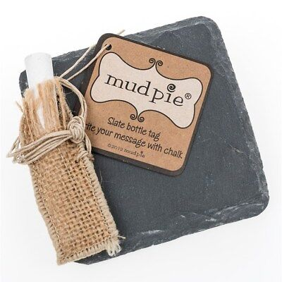 Mudpie Slate Bottle Unique Gift Tag with Chalk also ideal as a wipe clean sign