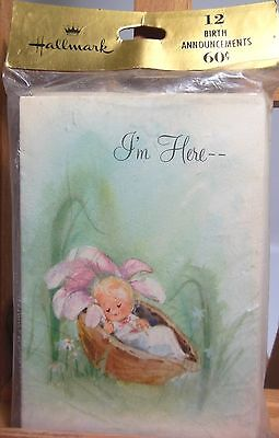 """Vintage Hallmark Birth Announcements Baby in a Nutshell 3X4"""" Pack of 12 USA New!"""