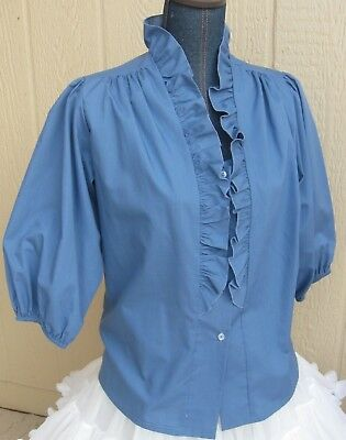 Carefree Fashions darker blue front ruffle longer sleeve square dance blouse - S