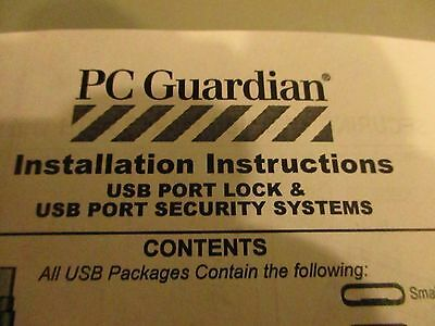 Lot Of Pc Guardian Usb Port Locks (10) Cable Guards (10), Key (1), New