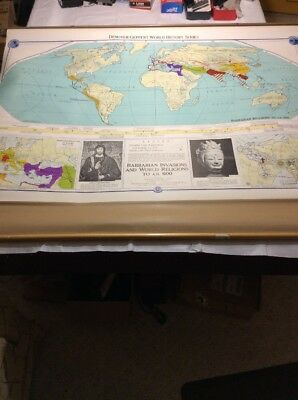 VINTAGE Denoyer Geppert Map Barbarian Invasions And World Religions AD 600 1214T