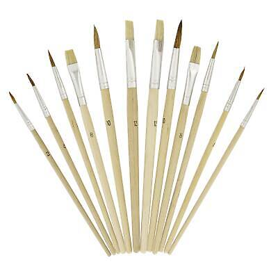 "US Art Supply® 12 Piece Brush Set with 9"" x 12"" Wood Palette Painting Art"