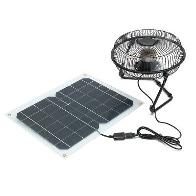 8 12W USB Solar Panel Fan Powered Outdoor Home Greenhouse Cooling Ventilation""