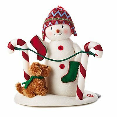 Hallmark 2017 Stockings Hung With Care Techno Plush Candy Cane Snowman and Dog