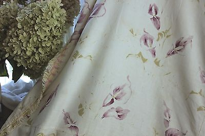 Vintage  French 1920's purple floral fabric soft Greens BEAUTIFUL fabric materia