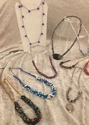 11 Necklaces eclectic boho contemporary unique beads rocaille NEW job lot