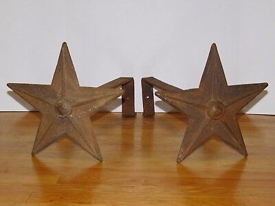 Pair Vtg Cast Iron Lone Star Texas Western Federal Andirons Fireplace Log Holder