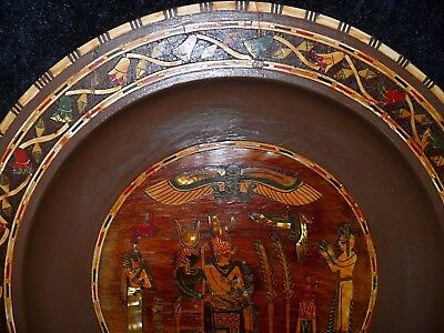 "VINTAGE Antique? EGYPTIAN 12"" Wooden PLATE Mother of PEARL Hand CARVED History"