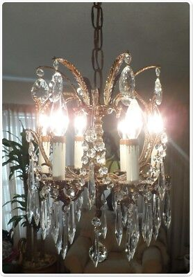 Vintage Antique Brass Ornate Bird Cage Petite Chandelier With Prisms