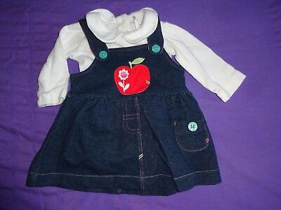 Baby Girls Clothes Newborn - Pinafore Dress W Apple Motif & Top Outfit Set