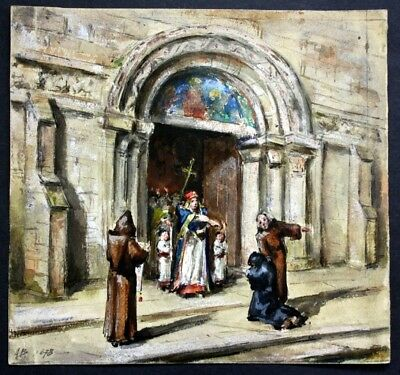 (Religious ritual in front of a church) - watercolor / Aquarell Bachelin, August
