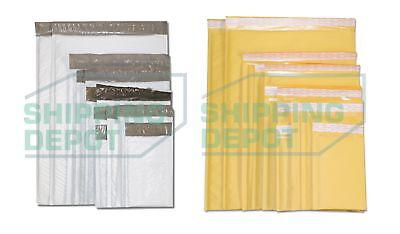 Choose KRAFT or POLY BUBBLE MAILERS All Sizes and Quantities #0000 - #7
