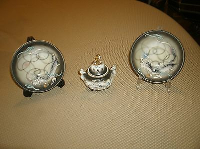 Vintage Betson Dragon Decorative Plates and Candle/Incense Burner
