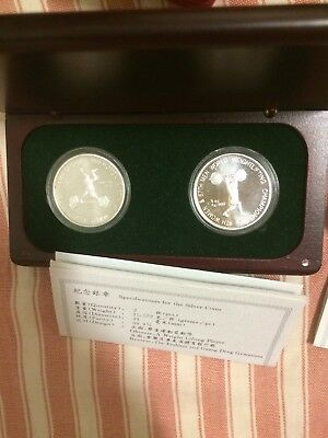 1995 China 2pc Olympic Weightlifting   silver  Medal coin coa box
