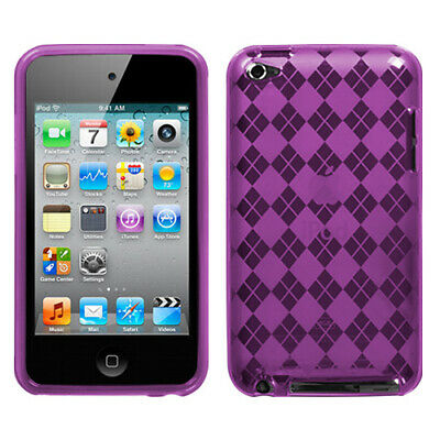 For Apple iPod touch (4th generation) Purple Argyle Candy Skin Case Cover