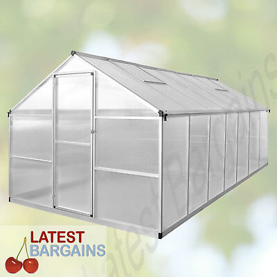 421x250cm Walk In Greenhouse Polycarbonate Green Hot House Plant Shed Storage
