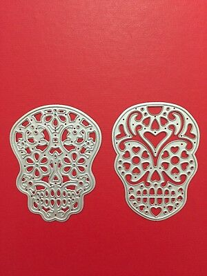 NEW• CANDY SKULLS DIE SET of 2 - Use With Sizzix or Cuttlebug