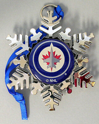 """Winnipeg Jets Holiday """"snowflake"""" Ornament - Official Nhl Licensed - New!"""