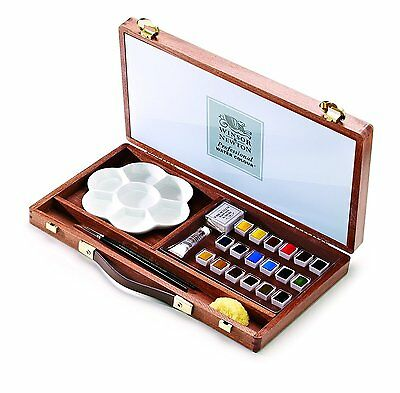 Winsor & Newton Piccadilly Set Professional Artist Water Colour Paint Wooden Box