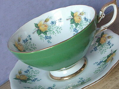 Vintage Mid Century Royal Standard green yellow roses bone china tea cup teacup