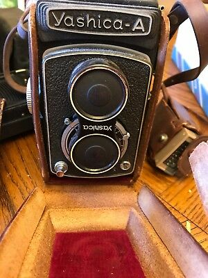 Yashica A with original booklet and in leather case circa 1956-1959 with meter