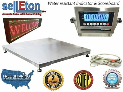 "NTEP 36"" x 36""  3'  Floor Scale Fixed TOP Stainless Steel Scoreboard 5000 lbs"