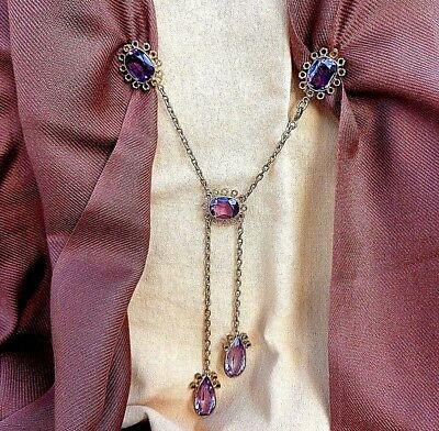 Rare Antique Georgian/Victorian Silver Gold Plated Shawl Clasp With 5 Amethysts