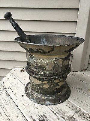 Antique Apothecary Trade Sign Drug Store Druggist Mortar Pestle Doctor Metal