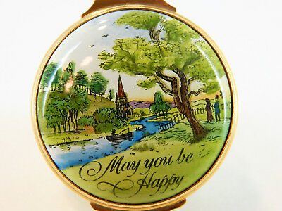 """Vintage Bilston Battersea Enamel Over Copper Hinged Box,"""" MAY YOU BE HAPPY"""""""