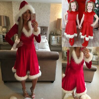 AU Xmas Santa Mother And Daughter Kids Dresses Family Look Matching Skater Dress