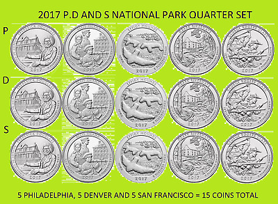 2017 P, D & S America the Beautiful National Park Quarter 15 Coin Set