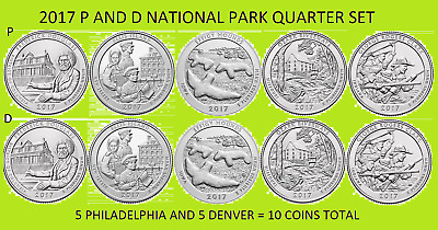 2017 P & D America the Beautiful National Park Quarter 10 Coin Set