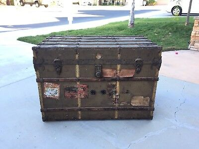 Vintage STEAMER TRUNK W. W. WINSHIP crate RMS Adriatic White Star Line 1907