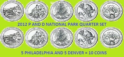 2012 P & D America the Beautiful National Park Quarter 10 Coin Set